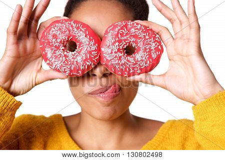 Young Woman With Tasty Donuts