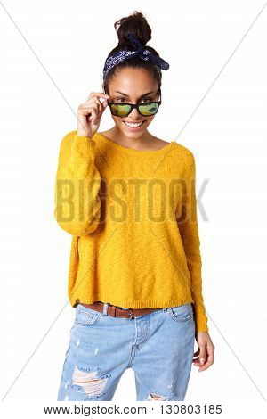 Attractive Young Female Model Peeking Over Sunglasses