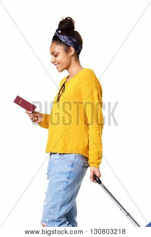 Young Woman Walking With Travel Bag And Passport