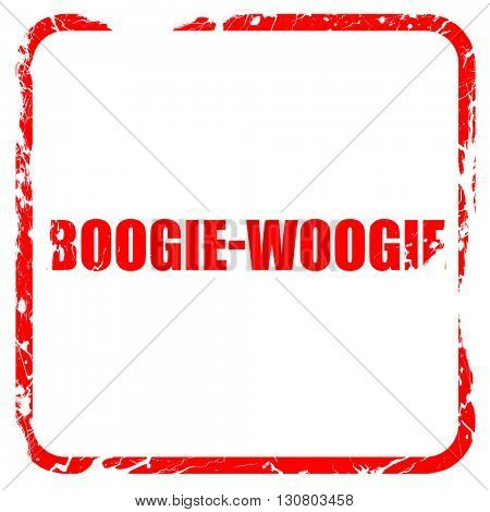 boogie woogie, red rubber stamp with grunge edges