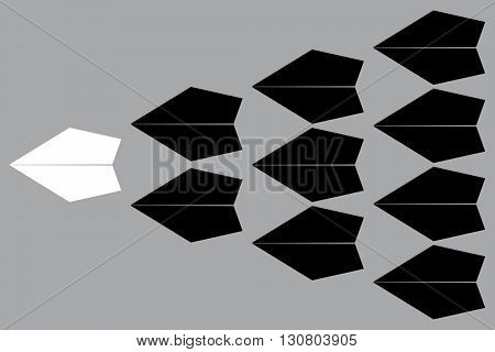 White paper plane leading black ones on isolated on gray background Leadership concept