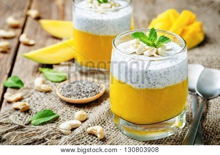 Mango Greek yogurt Chia seeds pudding with cashews.