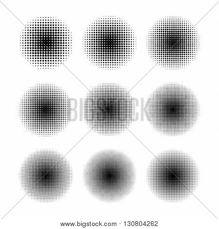 Round halftone screen patterns with different dot size isolated on white