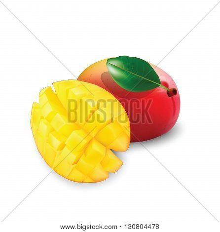 Mango fruit with a leaf for your design