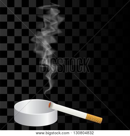 Burning Cigarette and Ashtray Isolated on Checkered Background