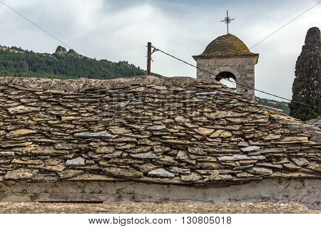 Orthodox church with stone roof in village of Theologos,Thassos island, East Macedonia and Thrace, Greece