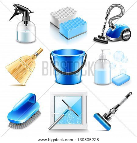 Cleaning icons detailed photo realistic vector set