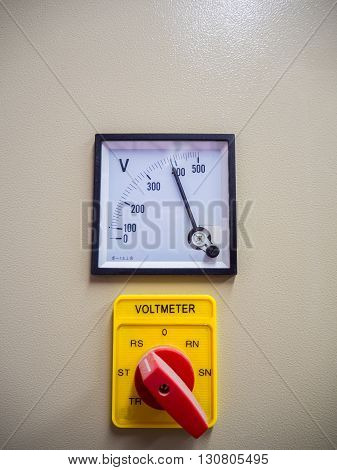 Industrial volt meter and selective switch on board.