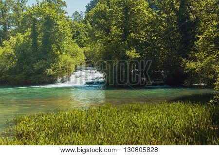 Beautiful waterfalls on Slunjcica river in the village of Rastoke near Slunj in Croatia
