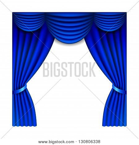 Blue window curtains isolated on white photo-realistic vector illustration