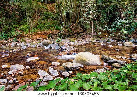 Mountain stream at the Khao Sok National Park Surat Thani Province Thailand. Soft focus.