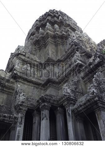 Angkor Wat castle Cambodiaancient temple ruin city isolated on white background clipping path
