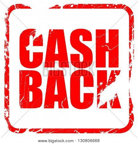 cash back, red rubber stamp with grunge edges