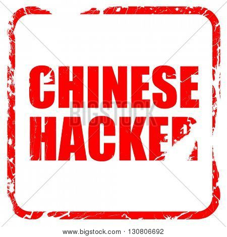 chinese hacker, red rubber stamp with grunge edges