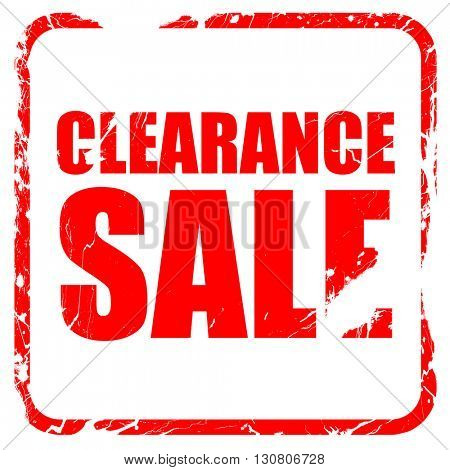 clearance sale, red rubber stamp with grunge edges