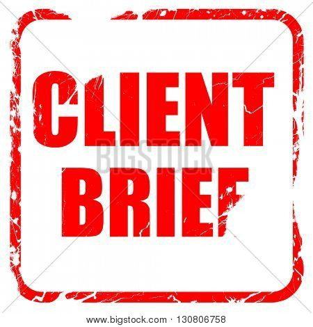 client brief, red rubber stamp with grunge edges