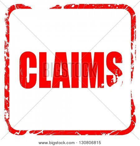 claims, red rubber stamp with grunge edges