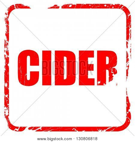 cider, red rubber stamp with grunge edges