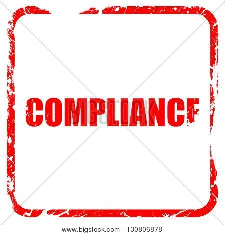 compliance, red rubber stamp with grunge edges
