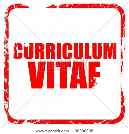 curriculum vitae, red rubber stamp with grunge edges