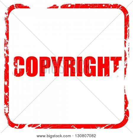 copyright, red rubber stamp with grunge edges