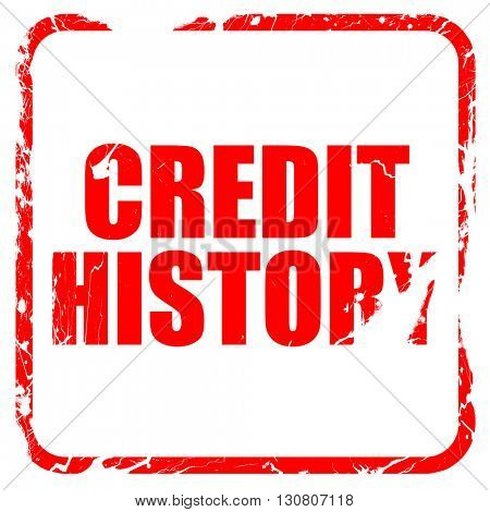 credit history, red rubber stamp with grunge edges