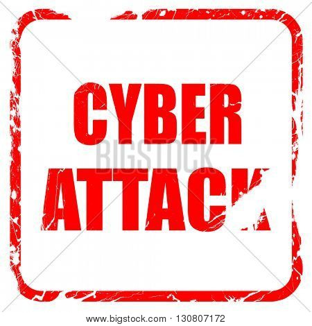 Cyber attack background, red rubber stamp with grunge edges