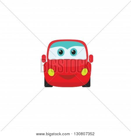 Car auto cartoon icon design logo template. Retro kids little toy with eyes mobile application game icon. Car parts service funny logo emblem concept