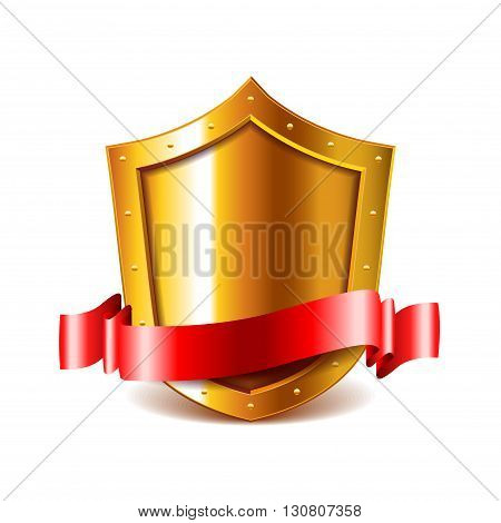 Golden shield with red ribbon isolated on white vector illustration