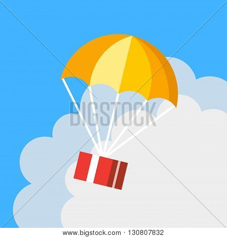 Delivery concept flat style parachute logo icon. Red gift box floating in blue sky with orange parachute. Creative design. Colorful vector illustration. Blue background with clouds.