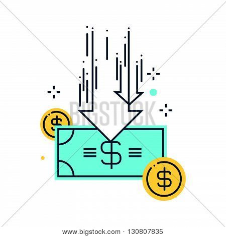 Color Line, Budget Cuts Concept Illustration, Icon
