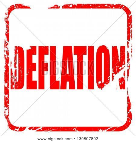 Deflation sign background, red rubber stamp with grunge edges