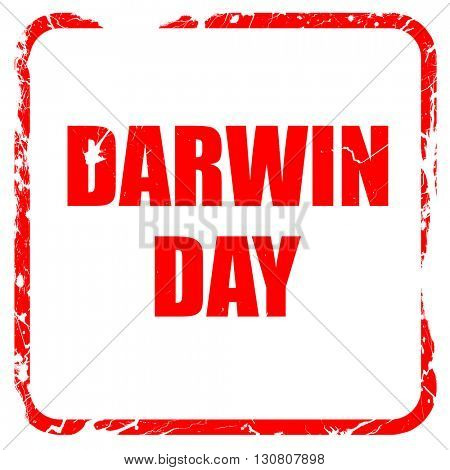 darwin day, red rubber stamp with grunge edges