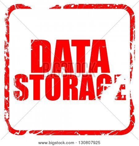 data storage, red rubber stamp with grunge edges