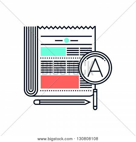 Color Line, Newspaper Concept Illustration, Icon