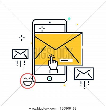 Color Line, Mobile Phone,in Box, Receive Mail Concept Illustration, Icon
