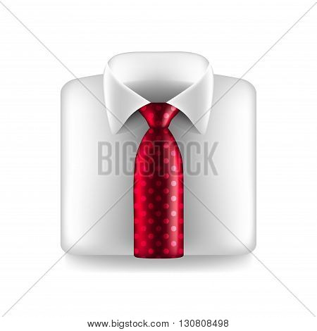 White shirt with red tie isolated photo-realistic vector illustration