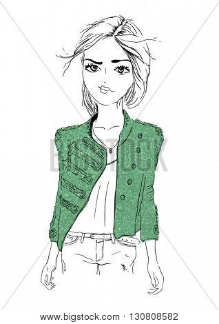 fashion girl with glitter illustration 2