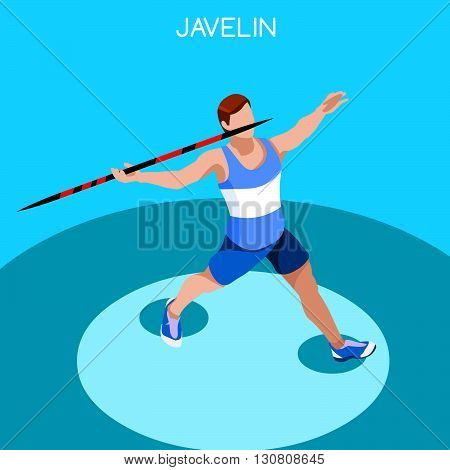 Athletics Javelin Summer Games Icon Set.3D Isometric Athlete.Sporting Championship International Athletics Competition.Sport Infographic Athletics High Jump Vector Illustration