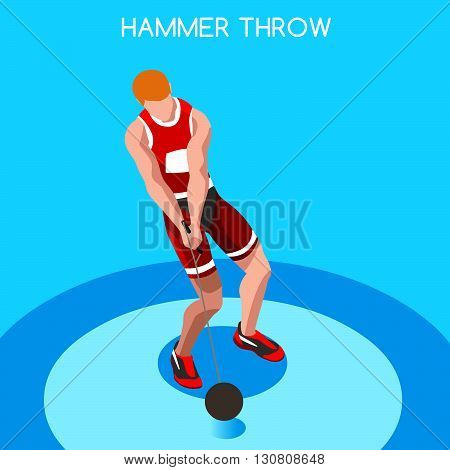 Athletics Hammer Throw Summer Games Icon Set.3D Isometric Athlete.Sporting Championship International Competition.Sport Infographic Hammer Throw Athletics Vector Illustration