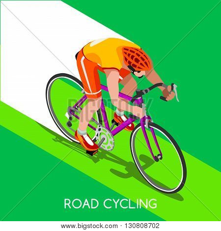Road Cyclist Bicyclist Athlete Summer Games Icon Set.Road Cycling Speed Concept.3D Isometric Athlete.Bicycle Sporting Competition.Sport Infographic Cycling Road Race Vector Illustration.