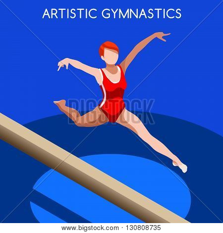 Artistic Gymnastics Balance Beam Summer Games Icon Set.3D Isometric Gymnast.Sporting Championship International Competition.Sport Infographic Gymnastics Vector Illustration.