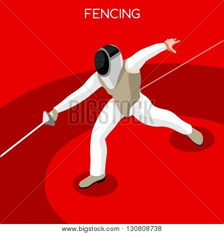 Fencing Summer Games Icon Set.3D Isometric Gymnast.Sporting Championship International Competition.Sport Infographic Artistic Gymnastics Vector Illustration