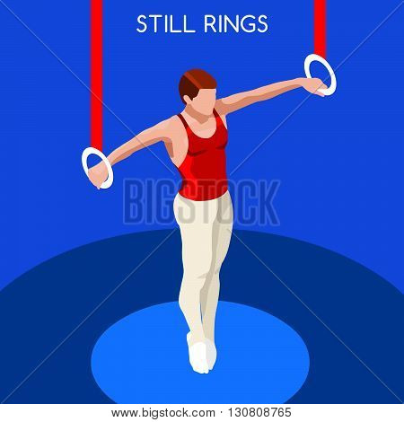 Gymnastics Still Rings Summer Games Icon Set.3D Isometric Gymnast.Sporting Championship International Competition.Sport Infographic Artistic Gymnastics Vector Illustration