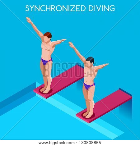 Synchronized Diving Summer Games Icon Set.3D Isometric Diver Sporting Competition Race.Sport Infographic Diving Vector Illustration