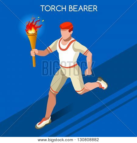 ,olympic, paralympic,Rio,2016, Olympic Rio 2016 Torchbearer Relay Running Men Summer Games Icon Set.Speed Concept.3D Isometric Athlete.Sporting Competition.Sport Infographic Torchbearer Vector Illustration.