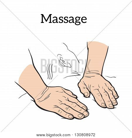 Hands doing massage icon sketch illustration on a white background, concept of health relaxation massage icon, massage your hands for medical purposes icon