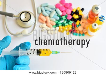 The syringe with drugs for chemotherapy treatment