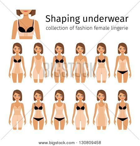 Woman in shaping lingerie or woman corrective underwear vector illustration