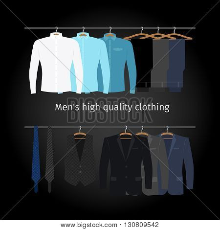 Business clothing on hangers. Mens casual clothing. Vector illustration